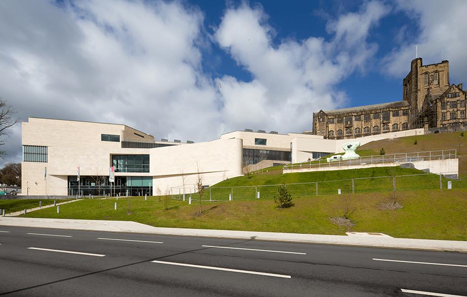 The Pontio Centre, Bangor side view of external facade