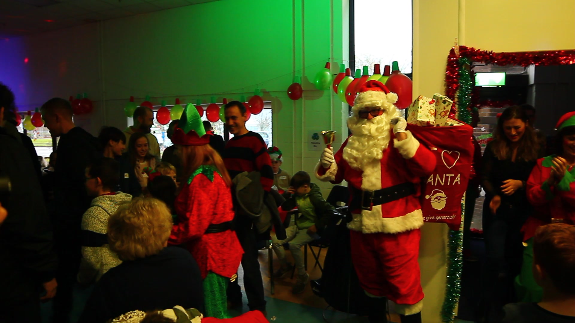 Santa Arriving At Our Kids Christmas Party