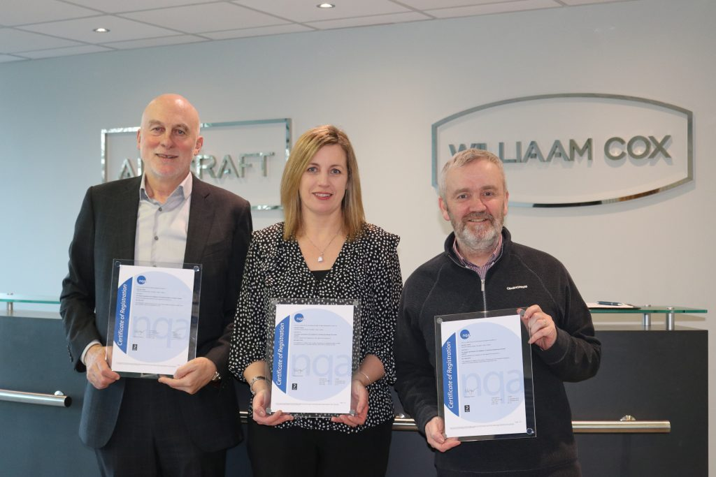 Jack McHugh, Catherine O'Driscoll & Thomas Hetherington with ISO Certs